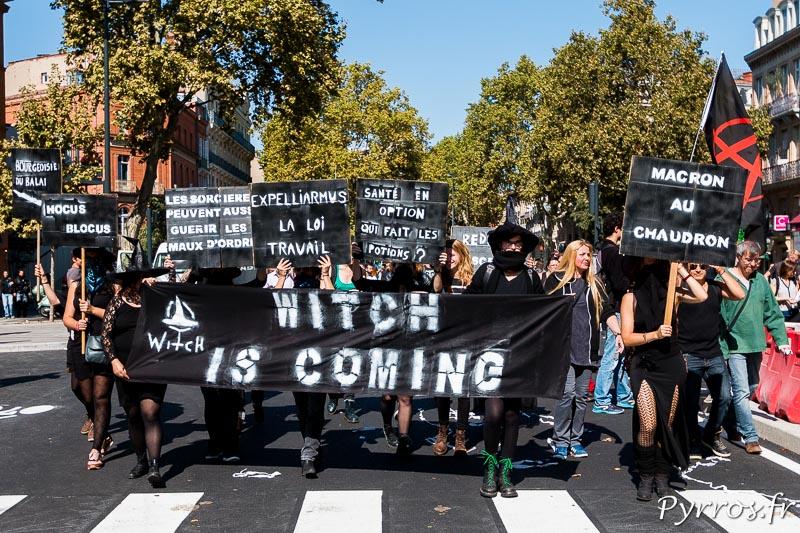 Un groupe de sorcières porte des pancartes contre la réforme du Code du Travail