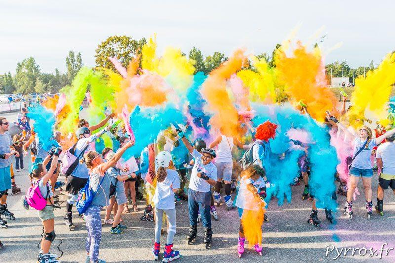 La bataille de couleurs se termine sur l'esplanade de la Ramée