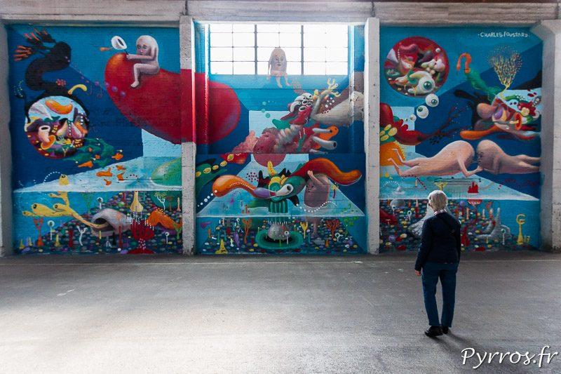 certaines fresques murales sont immenses dans les hangars du 50Cinq