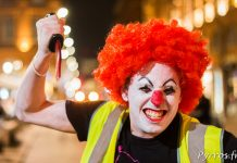 Un clown effrayant à pris le départ de la randonnée roller