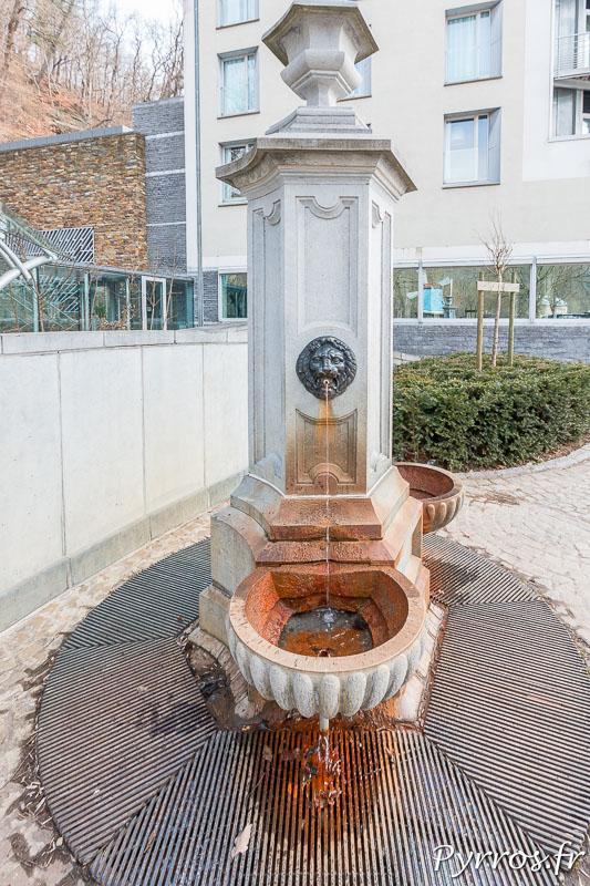 L'eau contient du fer et laisse un dépot dans les vasques
