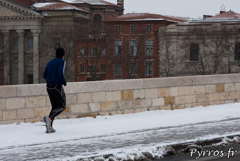 Neige à Toulouse, Footing sur neige.