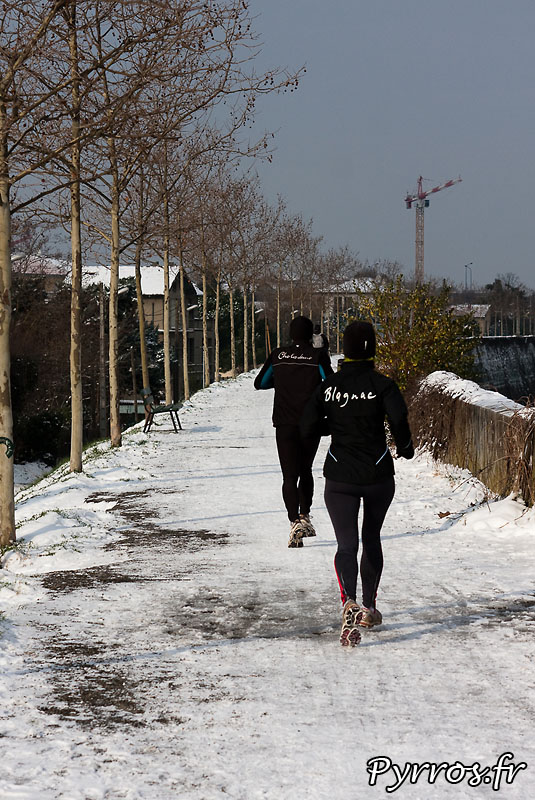 Neige à Toulouse, footing.