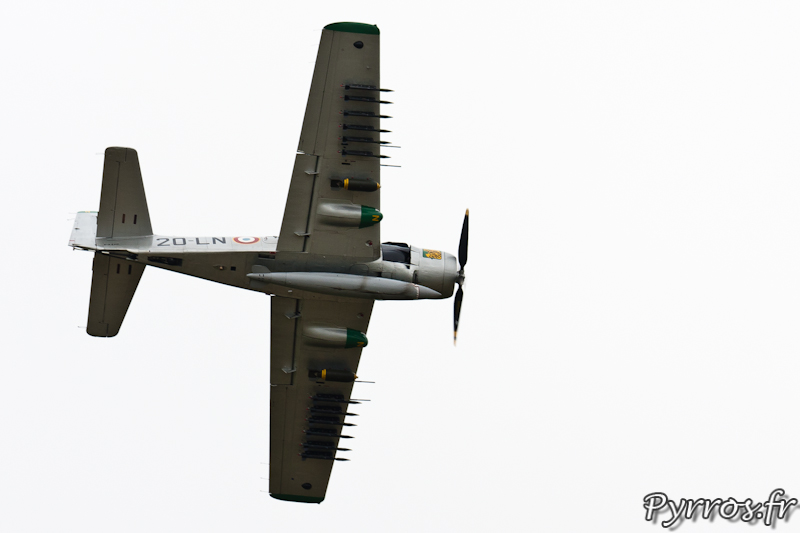 Douglas AD-4N Skyraider F-AZHK virage à gauche à Airexpo 2012