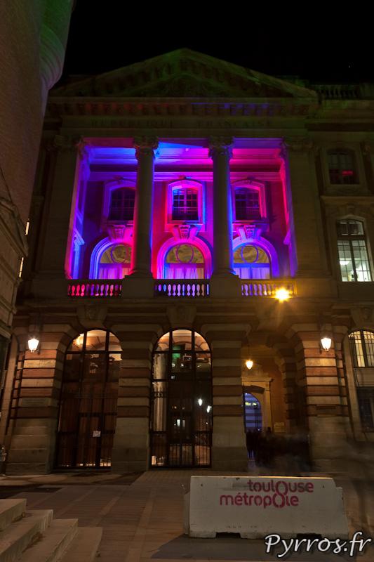 Eclairages de Noël à Toulouse, la façade du Capitole (coté donjon)