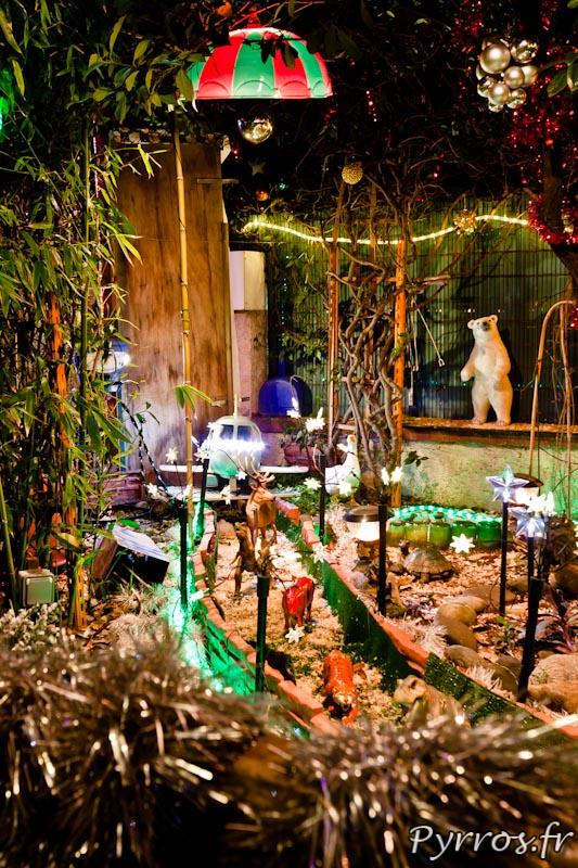 Maison décorée pour Noël, guirlandes lumineuse et féerie.