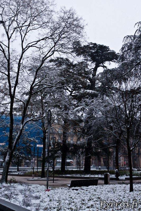 le square de Gaule est sous la neige.