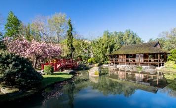 Le salon de thé du jardin japonais de Toulouse se reflète dans le lac quand le soleil se leve