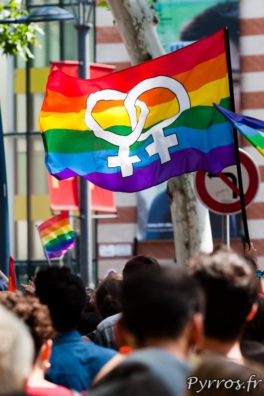 Drapeau arc ciel avec le symbole de 2 femmes entrelacées (lesbiennes)