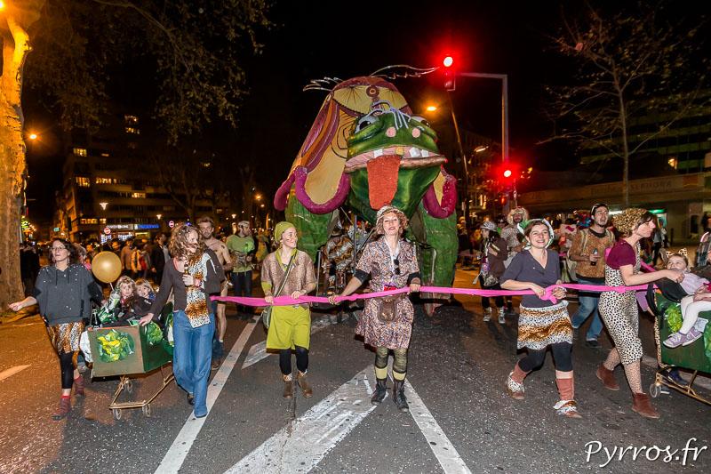 Il y avait 48 ensembles pour accompagner Mr Carnaval ici une tortue propulsée par des vélos