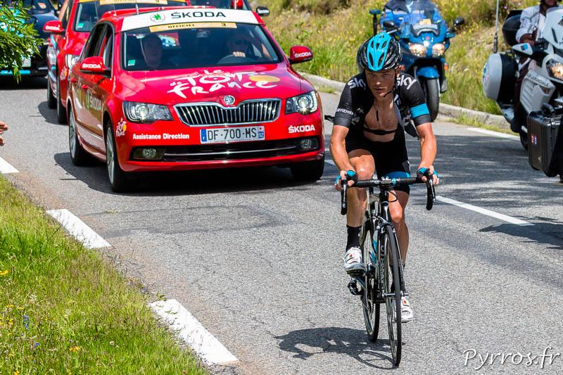 Tour de France dans le col de Peyresourde, Vasili KIRYIENKA (SKY) passera le col en tète