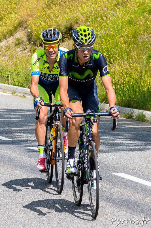 Tour de France dans le col de Peyresourde, Jesus HERRADA LOPEZ (Movistar) et Nicolas ROCHE (TINKOFF-SAXO) tente de rejoindre le premier coureur
