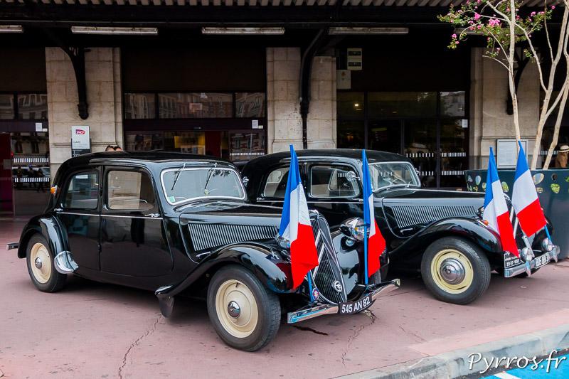 Devant la Gare Matabiau sont exposées des tractions, icône de la Résistance