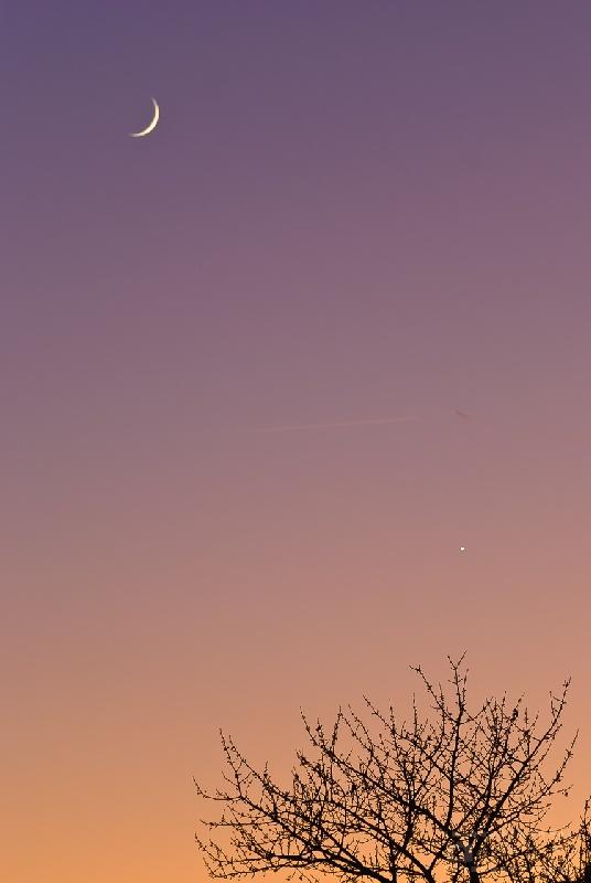 Conjonction vénus-lune naissante dans le ciel couchant – Novembre 2011 - 1 photo / Nikon D80 + Nikon 70-300mm f/4.5-5.6 à 125mm / ISO800 / 1/50s / f/5.6
