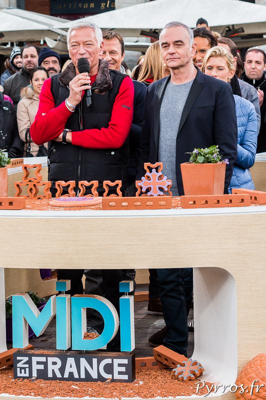 Laurent Boyer et Jean-Pierre Mader enregistrent le teaser qui sera diffusé avant la publicité qui précède le début de Midi en France