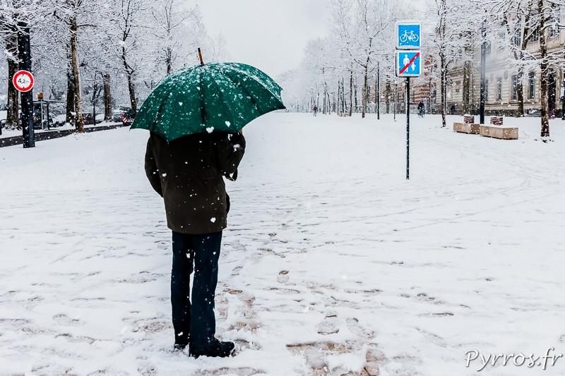 Au terminus du tram quelques curieux observent la neige tomber