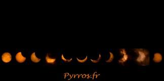 Eclipse solaire, les différentes phases assemblée dans un chapelet