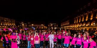 Ballade Octobre Rose en roller et en vélo dans les rues de Toulouse