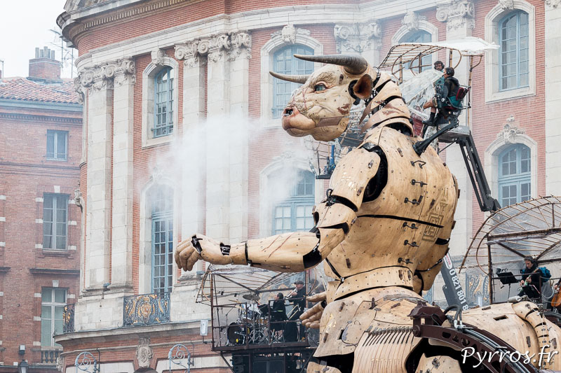 le minotaure traverse la place du Capitole