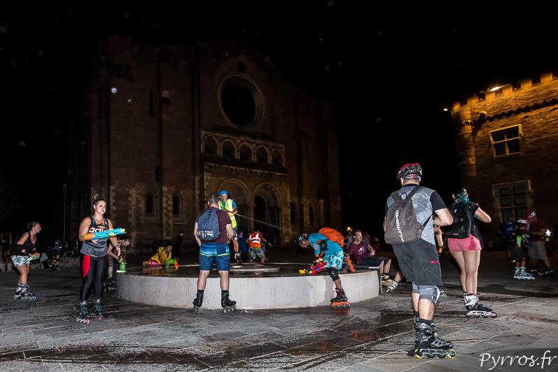 Pour la première année les patineurs rechargent leurs armes dans la fontaine de Saint Sernin
