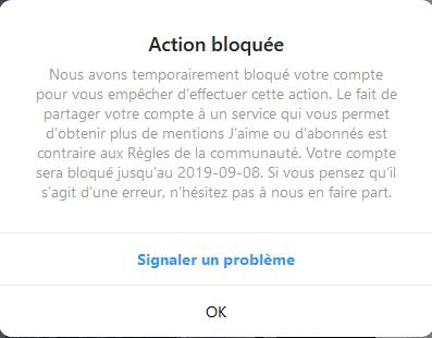 Instagram bloque des fonctionnalités d'un compte, le sanctionne d'un shadowban voir suspend son fonctionnement avant de le supprimer
