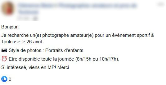 Message d'une entreprise qui recherche un photographe non-déclaré