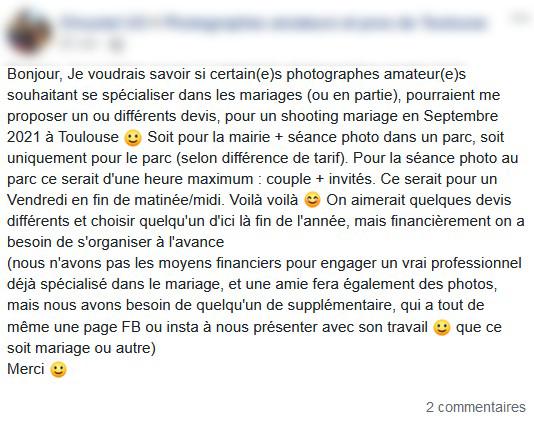 Je cherche un photographe non déclaré pour mon mariage. Le prix des professionnel est trop important.